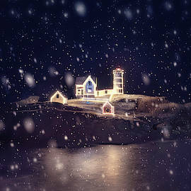 Nubble Lighthouse in Snow - York, Maine by Joann Vitali
