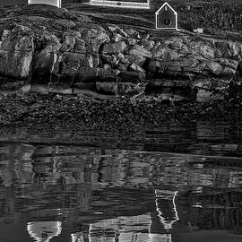 Nubble Lighthouse Reflection Bw by Susan Candelario