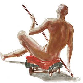 Nude Male Study In Gouache by Irina Sztukowski