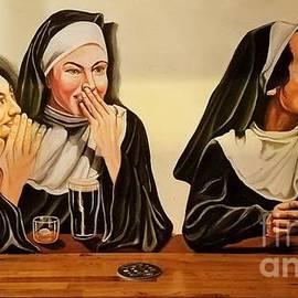 Nuns Having Fun Mural From The Church In Albir by Poet's Eye