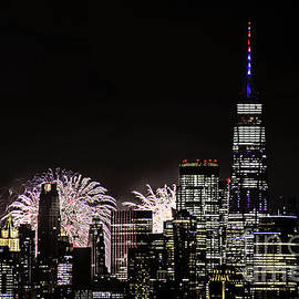NY Macy Fireworks and Freedom Tower by Regina Geoghan