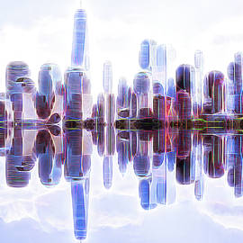NYC skyline reflections and glow by Geraldine Scull