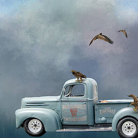 Old Ford Truck And Eagles - Digital Art by Ericamaxine Price