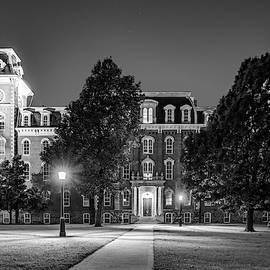 Old Main At Twilight - University Of Arkansas - Monochrome by Gregory Ballos