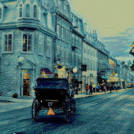 Old Quebec At Night - Digital Painting by Maria Angelica Maira