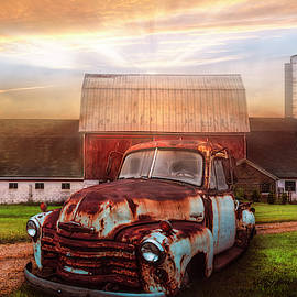 Old Rusty at Dawn in the Countryside by Debra and Dave Vanderlaan