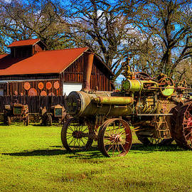 Old Steam Tractor And Sheep by Garry Gay