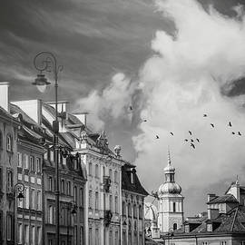 Old Town Rooftops Warsaw Poland Black and White by Carol Japp
