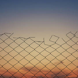 Old wire mesh fence texture against sunset sky background. by Psycho Shadow