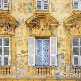 Old Yellow Building With Lace Curtain in Nice, France 2 by Liesl Walsh