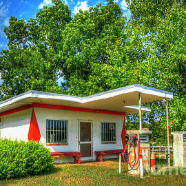 Once Upon A Time 2 Antique Esso Filling Station Exxon Mobil Art by Reid Callaway