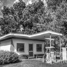 Once Upon A Time B W Antique Esso Filling Station Exxon Mobil Art by Reid Callaway