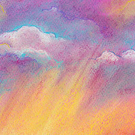Orange and pink abstract colorful sky background by Elena Sysoeva