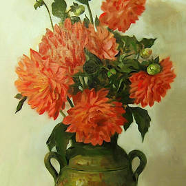 Orange Dahlias in Green Moroccan Vase
