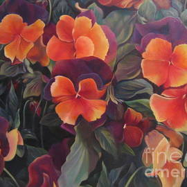 Orange Pansies  by Farideh Haghshenas