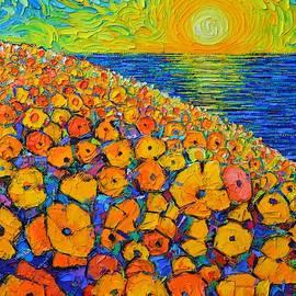 ORANGE POPPIES SEA SUNRISE abstract landscape textural palette knife oil painting Ana Maria Edulescu by Ana Maria Edulescu