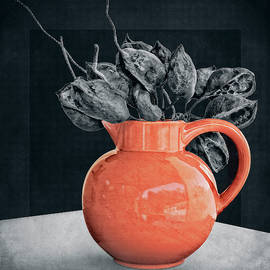 Orange Pot and Seed Pods by Sandra Selle Rodriguez