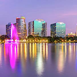 Orlando Skyline - Lake Eola Sunset Panorama by Gregory Ballos