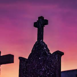 Ourem Cemetery Crosses Sunset - Portugal by Stuart Litoff