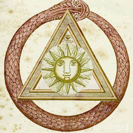 Ouroboros, delta, and the divine eye with the sun, from The Kneph by English School