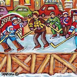 Outdoor Hockey Rink Verdun Row Houses Staircase Winter City Scene C Spandau Goalie Makes The Save    by Carole Spandau