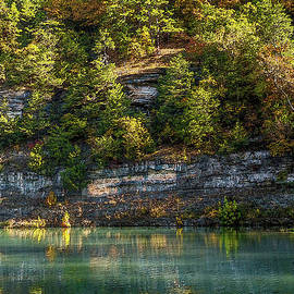 Ozarks Autumn Cliff Painterly by Jennifer White