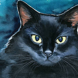 Ozzy Black Cat Painting by Dora Hathazi Mendes