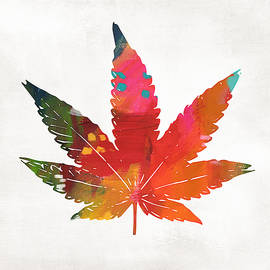 Painted Cannabis Leaf 1- Art By Linda Woods by Linda Woods