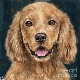 Painting of a Red Curly Cocker Spaniel Smiling by Idan Badishi