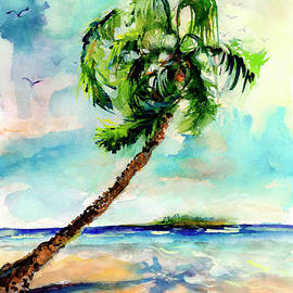 Palm Tree And Beach Watercolor by Ginette Callaway