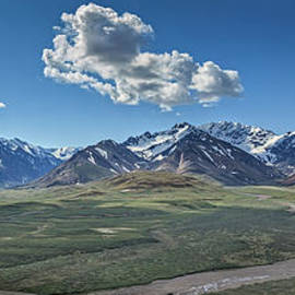 Panorama Of A Glacial Stream  by Robert Bales
