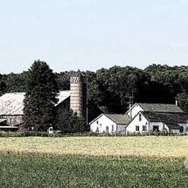 Panorama Of Amish Country Farm Landscape  In Chautauqua New York Ink Sketch Effect by Rose Santuci-Sofranko