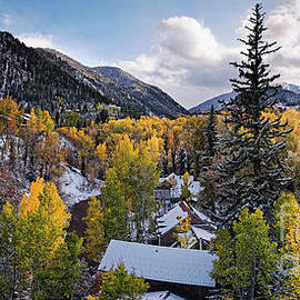 Panorama of Aspen and Ski Resorts during the Fall - Pitkin County Rocky Mountains Colorado by Silvio Ligutti