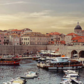 Panorama  of the port of the old city of  Dubrovnik by Steve Estvanik