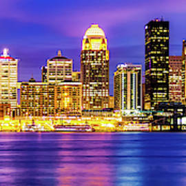 Panoramic Skyline Of Louisville Kentucky At Dusk by Gregory Ballos