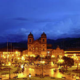 Panoramic View Of Plaza De Armas At Twilight Cusco Peru by James Brunker