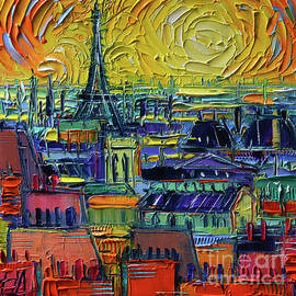 PARIS ROOFTOPS VIEW FROM CENTRE POMPIDOU - Textural Impressionist Stylized Cityscape Mona Edulesco by Mona Edulesco