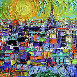 PARIS ROOFTOPS View from Notre Dame Towers - Textural Impressionist Stylized Cityscape Mona Edulesco by Mona Edulesco