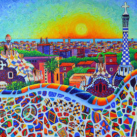 PARK GUELL SUNRISE BARCELONA VIEW modern impressionism impasto knife oil painting Ana Maria Edulescu by Ana Maria Edulescu