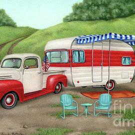 Patriotic Vintage Camper And Truck- Cropped by Sarah Batalka