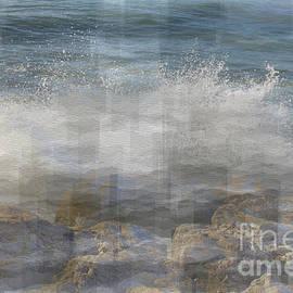 Pencil effect edit of Waves crashing against rocks in Torremolinos by Tony Hulme