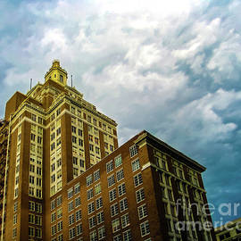 Perspective Of Art Deco Building In Downtown Tulsa Oklahoma Usa On A Stormy Day With Dramatic Sky by Susan Vineyard