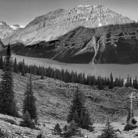 Peyto Lake Morning Sunrise Panorama Black And White by Adam Jewell