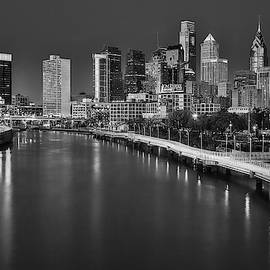 Philadelphia Skyline At Twilight Bw by Susan Candelario