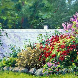Phlox along a White fence by Rick Hansen