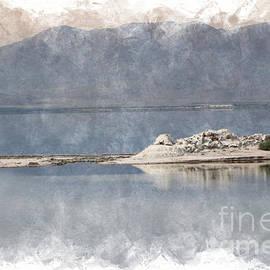 Photography At A Sandbar Salton Sea In Digital Watercolor by Colleen Cornelius