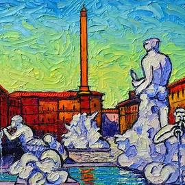 PIAZZA NAVONA ROME ITALY modern impressionist textural impasto knife oil painting Ana Maria Edulescu by Ana Maria Edulescu