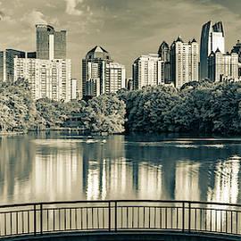 Piedmont Park Panorama - Atlanta Skyline In Sepia by Gregory Ballos