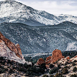 Pikes Peak Colorado Springs Mountain Landscape And Garden Of The Gods 3x1 by Gregory Ballos