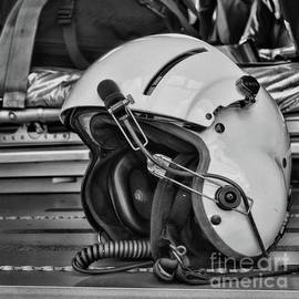 Pilot Flight Helmet square format Black and white by Paul Ward